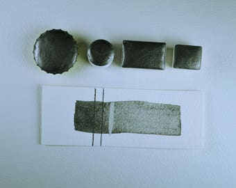 Half Pan or Small Cap - Graphite Silver, Anthesis Arts Artisanal Handcrafted Handmade Watercolor Paints, Choose Your Size