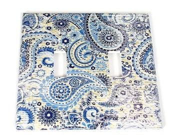 Double Light Switch Cover  Switchplate Switch Plate in  Navy Paisley  (272D)