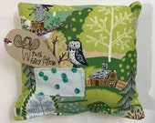 Tooth fairy pillow with an owl in a lovely forest scene in blues and greens and chartreuse by Urban Baby Bonnets