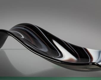 Fused Glass Spoon Rest - BluDragonfly SRA - Black and White Spoon Rest