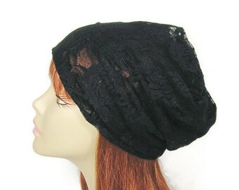 Black Lace Hat Black Lace Slouchy Hat Goth Slouch Custom Size Beanie Lace Summer Beanie  Lace Hat Womens Slouchy Beanie Lightweight Hat