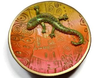 Lizard Ring Holder- Zen Ring Dish- polymer clay Ring Dish Tray Jewelry Storage- Desert Sunset Ring Dish