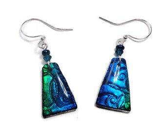 Blue-Emerald Earrings- polymer clay jewelry- Resin Earrings- Gifts for Her Birthday Statement Earrings- Abstract Triangle Earrings