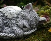 Yorkie Angel Dog Statue, Yorkshire Terrier Memorial, Silky Terrier - Sleeping Concrete Dog Memorial Statue