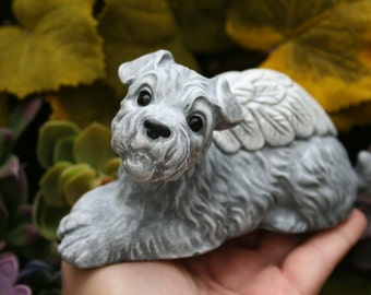 Terrier Dog Angel Statue - Fox Terrier, Wire Hair, Rough Coat Jack Russell, Concrete Dog Memorial