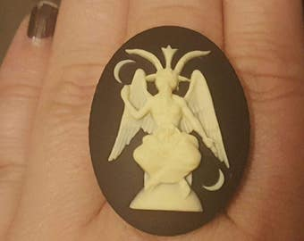Baphomet,Baphomet ring,horror, cameo, gothic halloween, pagan, wiccan, witch