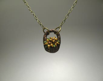 Basket of Sunflowers Necklace - Flower Girl Necklace - Sunflower Jewelry