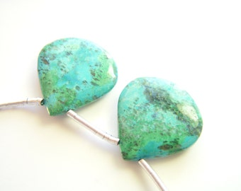 Large Chrysocolla Polished Hearts - Pair - 19x19mm