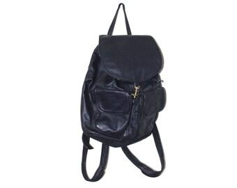 navy blue leather backpack 80s vintage slouchy minimalist genuine leather rucksack medium