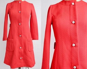 Vintage 1960s Domani Knits Coat | Neon Red Mod Coat Dress | Space Age Knit Dress | XXS-XS