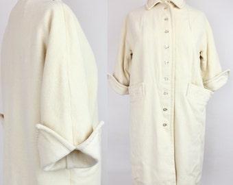 Vintage 1950s Ivory Wool Coat | 50s Cuffed Sleeve Winter Coat | L