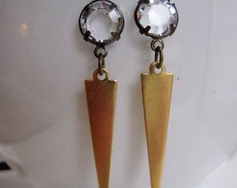Brass Triangle Earrings, Long Narrow, Raw Brass, Trendy Brass Jewelry, Art Deco Dangles, Vintage Crystal Rhinestones, Geometric