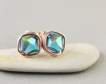 Aqua Crystal Studs, Bicone Crystal, Aqua Posts, Rose Gold, Bridesmaid Gift, Crystal Earrings
