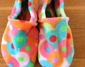 Free shipping- Minky Bliss Fleece Slippers with Grip Tight Soles (6.5 inch soles/shoe sizes 8.5 to 9.5 kids).