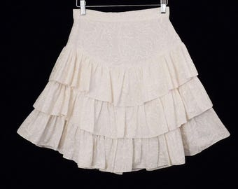 80's vintage CREAM COTTON mini skirt // ruffle flounce skirt // short full skirt // XS - S // extra small