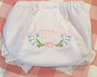 Heirloom Embroidered Name Monogrammed Bluebells Bloomers Diaper Cover Panty Baby Child