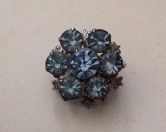 Vintage Scatter Blue Rhinestone Brooch Pin Fleur de Lis