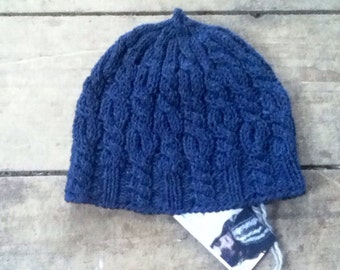 Blues - handknit cabled cotton cap - last one!