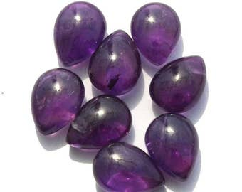 8 Pcs 14x10mm Natural African Amethyst Smooth / Polished Pear Briolettes Size 25x10mm Approx semiprecious gemstone briolette