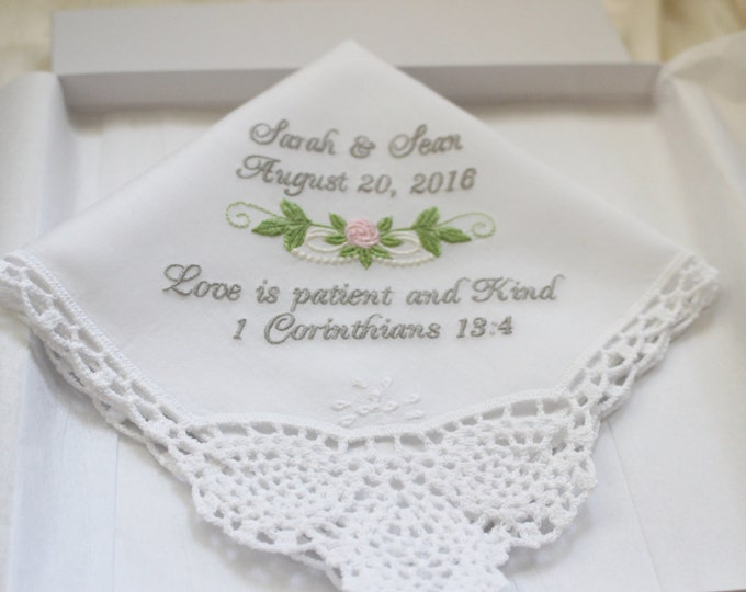 Religious Handkerchief, Bible Verse Wedding Handkerchief , Personalized Wedding Hankie, Embroidered Wedding Handkerchief