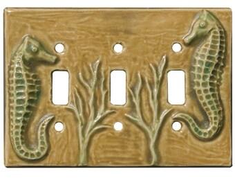 Seahorses Ceramic Light Switch Cover- triple toggle in tan emerald glaze color