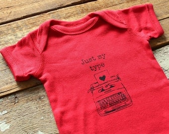 SALE -- Just My Type Vintage Typewriter Love Note Baby Creeper One Piece Body Suit in Red