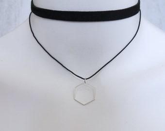 Double Banded Black Choker Hexagon Square Pendant Silver Minimalist