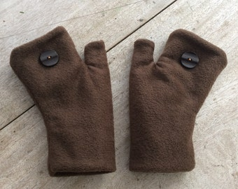 Unisex Fingerless Gloves / Handwarmers in soft fleece, fully lined, Adult size LARGE/X-LARGE, Made in Maine