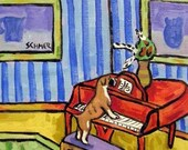 30 Off Boxer Playing Piano Dog Art Tile Coaster Gift