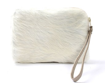 Cowhide Clutch Sheena Wallet in White Hair On Leather Bag