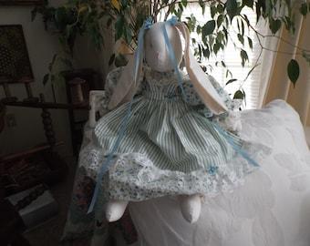 Glenda's Rose Garden Bunny Rabbit ,,,in Blue