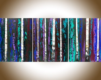 "Contemporary wall art 48"" birch painting Original artwork canvas painting blue green white black impasto canvas art wall art by qiqigallery"