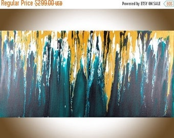 """Turquoise gold Abstract art Large wall art canvas art acrylic painting original artwork home decor office decor """"Fusion"""" by QiQigallery"""