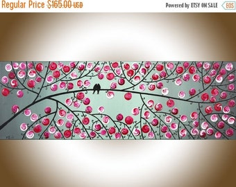 """Red gray painting on canvas Modern Wall Art Acrylic painting love Birds wall decor wall hangings Wedding Gift """"Cheerful"""" by QIQIGALLERY"""