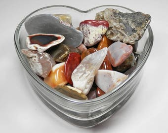 RJ-39  Tumble Polished Rock Collection Agates Petrified Wood Jasper with Glass Heart Display