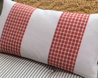 FReNCH Cottage/DOWN 12x22 Pillow/Swedish CHecK/Red White/Farmhouse/Urban/Shabby Chic/Bedroom/Traditional/Decorative Throw Pillow