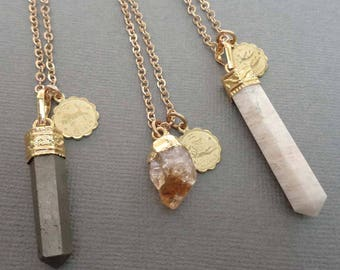 Zodiac Pendant Necklace/ Moonstone Citrine Pyrite Zodiac Charm/Natural Stone Pendant Zodiac Necklace/Astrology Your Sign Astrological-G18