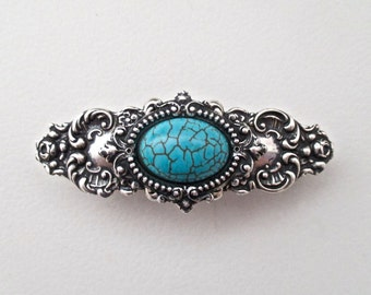 Turquoise Cabochon and Antiqued Silver Barrette