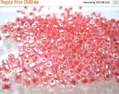 75% Off Miyuki Seed Beads, 10 grams, Clear Color lined Pink Rainbow Miyuki 8/0 See Beads Transparent 2 Cut Hex  No. 8