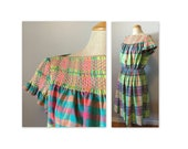 Vintage 60s Smocked Madras Dress M a Jeanne D'arc in pinks, greens and blue