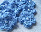 Crochet Double Layered Flowers in Medium Blue set of 10 with pearl centers