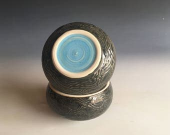 French Butter Keeper, Extra Large, 3 Sticks Butter, Carved Waves, Mottled Dark Grey with Big Happy Blue Dot, Butter Bulb (TM)
