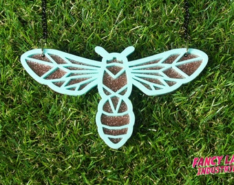 Mint and Copper Black Flower Wasp Necklace, Laser Cut Necklace, Native Australian Wasp, Insect Necklace