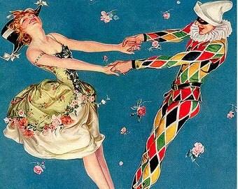 Leyendecker Vanity Fair Cover Dancing Ballerine Harlequin Floral On Canvas Ready to Hang
