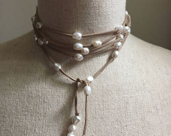 Suede and Pearl endless necklace, belt, lariat