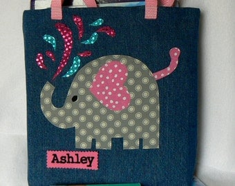 Elephant Tote Bag|Gift For Toddler|Birthday Party Gift|Gift for Nephew|Children's Library book bag|Christmas|Gift For Niece and Bookworm