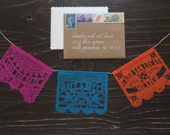 Mini Birthday Invitation (65 pieces) Tissue papel picado garland personalized custom