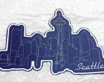 """Seattle Space Needle After Dark Skyline  Embroidered Iron on Applique 8"""" x 5.25"""" - FREE SHIP - Made in U.S.A."""