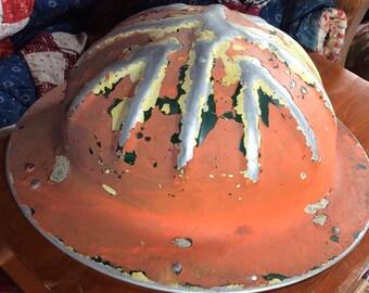 FUNKY VINTAGE HARDHAT, chippy paint, metal, steel, industrial, miner, costume