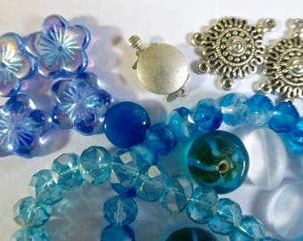 Mix of Assorted Vintage and New Beads to Play With - Sky Blue Tones OOAK  (SB)